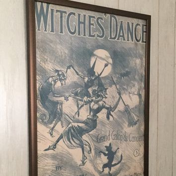 2 for price of 1 Christmas Gift- Buy One Get One FREE- Witches' Dance Vintage Repro Poster- teacher gift, teen gift, vintage halloween gift