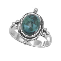 Sterling Silver Oval Reconstituted Turquoise Ring