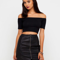 Motel Dana Off Shoulder Crop Top in Black
