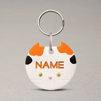 Calico Cat ID Tag - Fun Cat Name Tag, Cat Breed Accessories, Custom Personalized Name