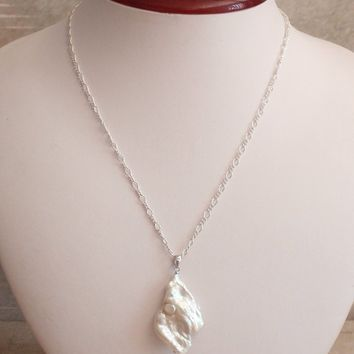Baroque Pearl Necklace Freshwater Large Sterling Silver Freeform Iridescent Artisan Piece