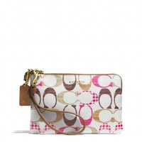BOXED BLEECKER L-ZIP SMALL WRISTLET IN DROP SIGNATURE C COATED CANVAS