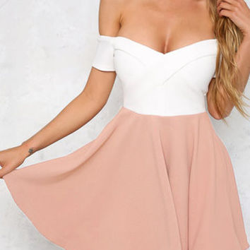 White and Pink Off Shoulder Swing Dress