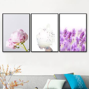 VERASUN Abstract Painting Girl Peony Lavender Flowers Wall Art Canvas Prints Posters Nordic Style Wall Pictures For Living Room