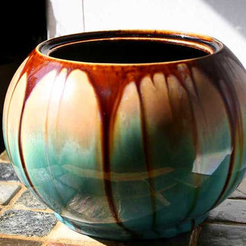 Radiant Vintage Belgium Drip Pottery Planter Bowl Vase Blue Green Brown Taupe 1940s 1950s