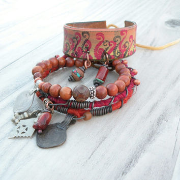 Tribal Gypsy Bangle Stack, Red, Orange, Yellow, Bracelet Set, Painted Leather Cuff, Silk Wrapped, Boho Bangles