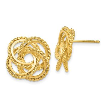 18mm Polished and Twisted Love Knot Earrings in 14k Yellow Gold