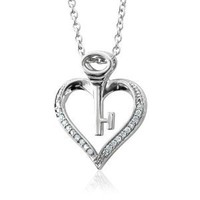 Sterling Silver Key My Heart Diamond Pendant Necklace (0.08 Carat)