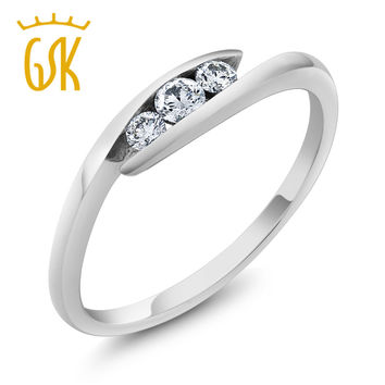 GemStoneKing Diamond-Jewelry Women's Antique 3 Stone Bypass Solid 18K  White Gold Natural Diamond Ring Women's Wedding Band