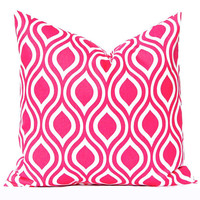 Pink Pillow, Decorative Pillow, Hot Pink Nicole Throw Pillow Cover Toss Pillow Cushion Cover Toss Pillow One All Sizes Hot Pink White
