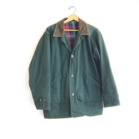 Vintage Barn Coat. Green Denim Chore Jacket. Ranch Coat. Plaid Lined Jacket.
