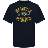 Old Time Hockey Nashville Predators Five For Fighting Adams T-Shirt - Navy Blue
