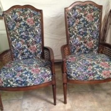 Pair of  High back Hollywood Regency Style Chairs