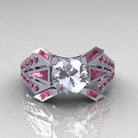 Modern Classic 10K White Gold CZ and Rose Topaz by artmasters