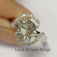 Round Green Amethyst Engagement Ring Pave Diamond Wedding 14K White Gold 8mm Flower