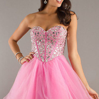 Beaded Strapless Prom Evening Cocktail homecomming party Gown Women dress