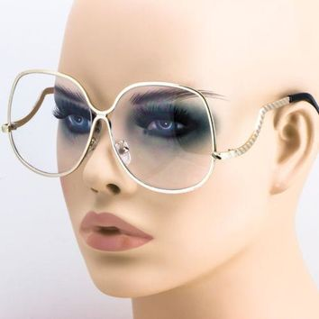 FREE BAG 80'S Retro Oversized Oval GOLD Frame Round Women Clear Lens EYE GLASSES