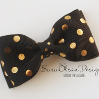 Black and Gold Polka Dot Hairbow, Polka Dot Hair Clip, Tuxedo Hairbow, Bow Tie Hairbow, Toddler Hairbow, Girls Hairbow, 3 Inch Bow