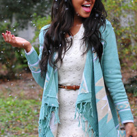 The Arrowhead Cardigan: Mint/Ivory | Hope's