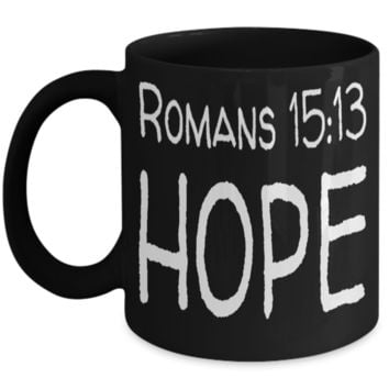 Spirituality Bible Verse Catholic Mugs Coffee Mug Art Christianity Coffee Cup Religious Art Print Artsy Jesus Christ Decorative Pencil Holder Black Ceramic 11 oz pba Free Dishwaher Safe Easter 2017 2018 Romans 15:13 Hope Cups