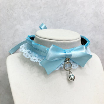 Pastel Baby Blue Lolita Lace Collar- Kittenplay Petplay BDSM Collar-Kitten Day Collar- Pet/Kitten Gear-Collar Choker- DDLG Submissive