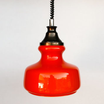 Vintage Orange-red 70's Pendant Lamp / Adjustable Pendant Lamp / 1970 Yugoslavia / Hanging light