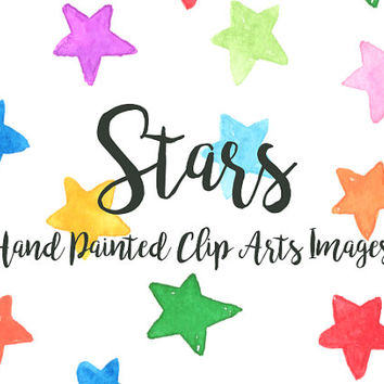 Star pattern Watercolor Clip Arts element Digital Nursery Files Party Wedding Invitation Printable Download colorful geomatric