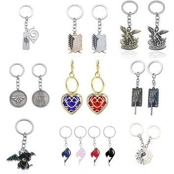 Hot Anime Cosplay Jewelry WOT World Of Tanks Keychain Punk Saint Michael Fairy Tail Tai Chi Key Chain for Men Christmas Gifts