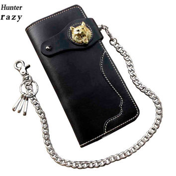Mens Wolf Gothic Leather Long Wallet With Chain Card Holder Coin Purse