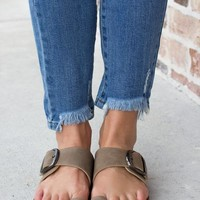 Birk Inspired Large Buckle Sandal: Taupe