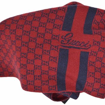 Gucci Men's Reversible Blue & Burgundy GG Guccissima Wool Scarf