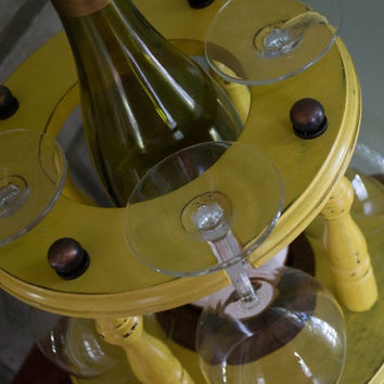 Wine Bottle and Glass Holder, Hand Painted Yellow Wine Rack