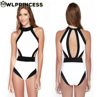 2016 New Fashion Patchwork Fancy Halterneck Padded Sexy Women Monokini One Piece Swimsuit  Backless Female Swimwear