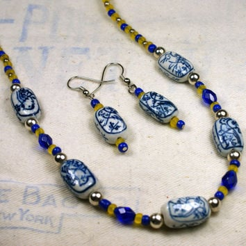 Yellow and Blue Beaded Necklace and Earrings with Painted Ceramic Bead Accents white Silver Asian Unique Handmade Jewelry by o2designs