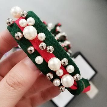 GUCCI Newest Hot Sale Women Stripe Pearl Hair Rope Letter Head Rope Hair Band