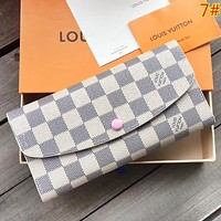 LV Louis Vuitton Fashion New Monogram Check Leather Wallet Handbag Women