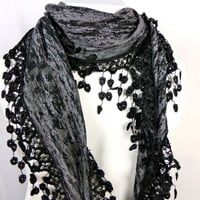Bohemian Grey Burnout Lace Fringe Scarf Necklace  - semi sheer grey and black lightweight fabric w/ lace fringe lace- trendy scarf