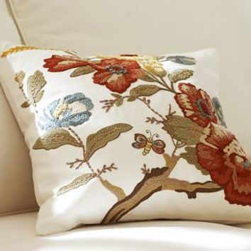 Katherine Floral Embroidered Pillow Cover From Pottery
