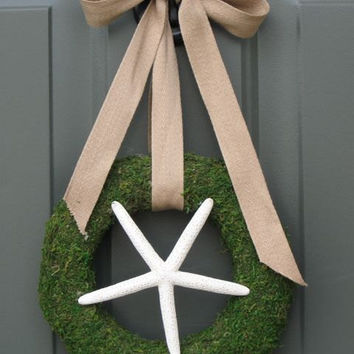 $27.50 starfish moss wreath rustic nautical beachy by TheRusticRaven