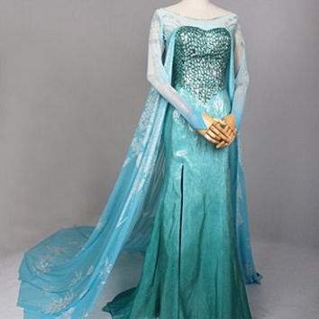 J711 Movies Frozen Snow Queen Elsa Cosplay Costume Deluxe Dress tailor made adult and teenager