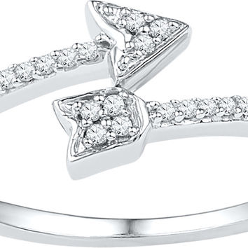 10kt White Gold Womens Round Diamond Bisected Arrow Band Ring 1/12 Cttw 108623