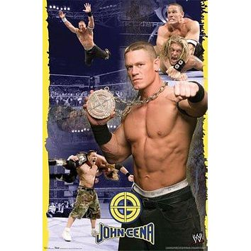 JOHN CENA POSTER - WRESTLING COLLAGE WWE - NEW 24X36