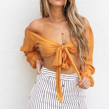 Get Closer Rust Tie Top