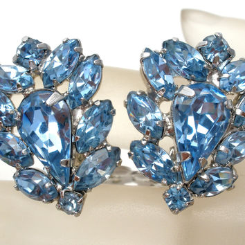 Weiss Blue Rhinestone Earrings Vintage Signed