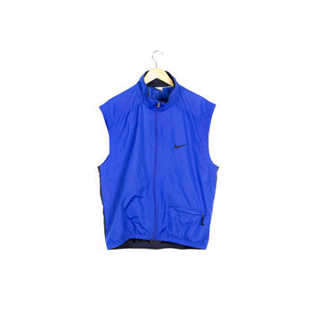90s RARE NIKE windbreaker vest / vintage 1990s / black jersey mesh / blue / colorblock / athletic / hip hop / sleeveless / sportswear /