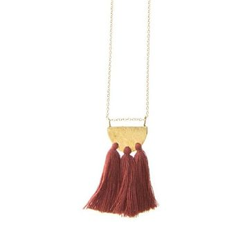 Hammered Brass Tassel Necklace