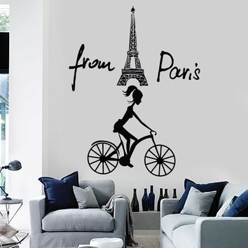 Vinyl Wall Stickers Eiffel Tower France French Girl Mural Decal Unique Gift (183ig)