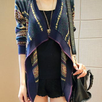 Multicolor Turn-Down Collar Long Sleeve Pattern-Knit Cardigan