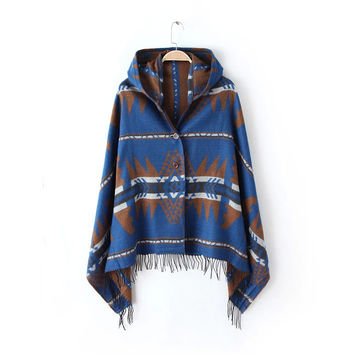 Blue Geometric Patterned Fringed Hoodie Cape Scarf