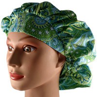 Women's Bouffant, Pixie, or Ponytail Surgical Scrub Hat Cap in Green and Blue Paisley